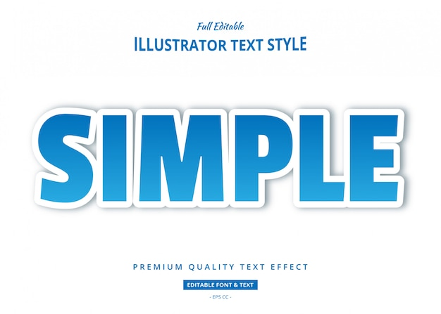 Efeito de estilo de texto simples azul