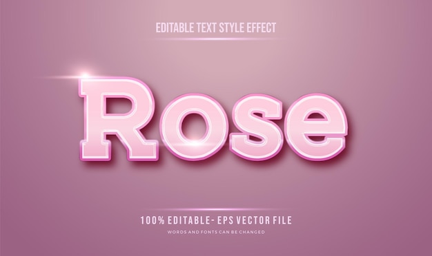 Efeito de estilo de texto tema feminino pinky rose.