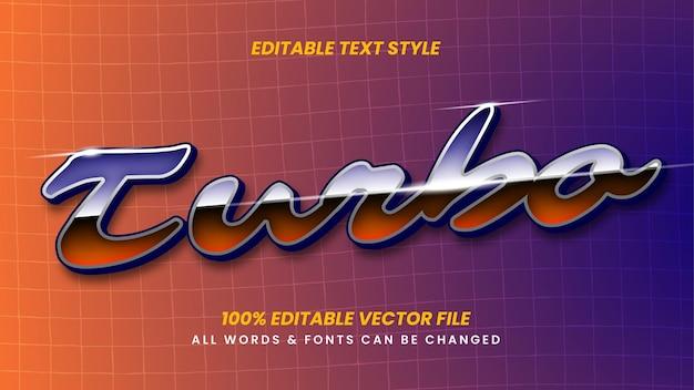Efeito de estilo de texto turbo retro 3d. estilo de texto editável do ilustrador.