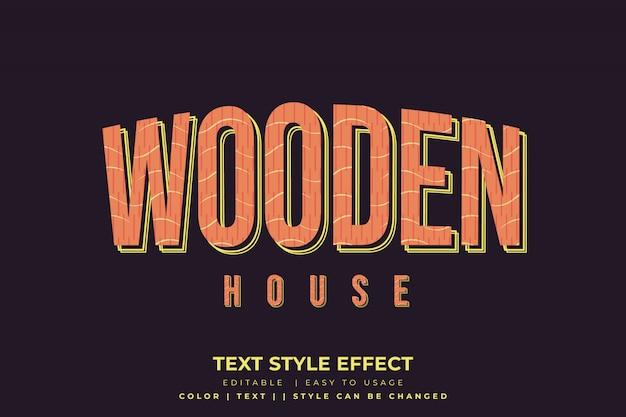 Efeito de estilo de texto vintage com textura de madeira