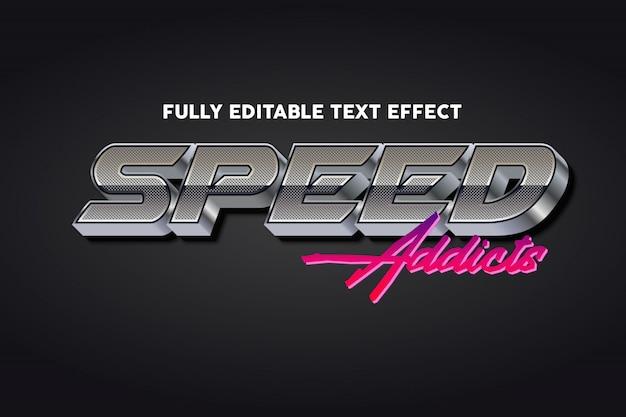 Efeito de estilo de tipografia de texto retrô de velocidade prata