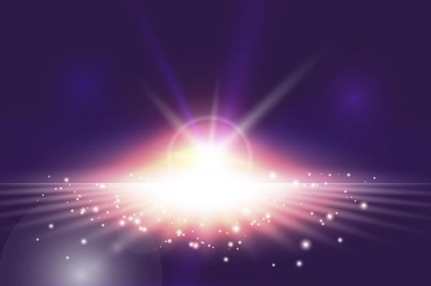 Efeito de explosão de luz abstrata com faíscas