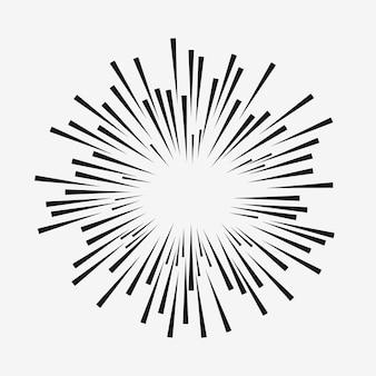 Efeito de explosão em quadrinhos. linhas radiais móveis. elemento sunburst. raios solares. ilustração vetorial.