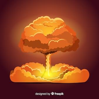Efeito de explosão nuclear plana brilhante