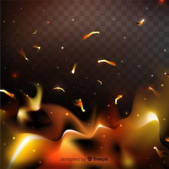 Efeito de faíscas de fogo com fundo transparente