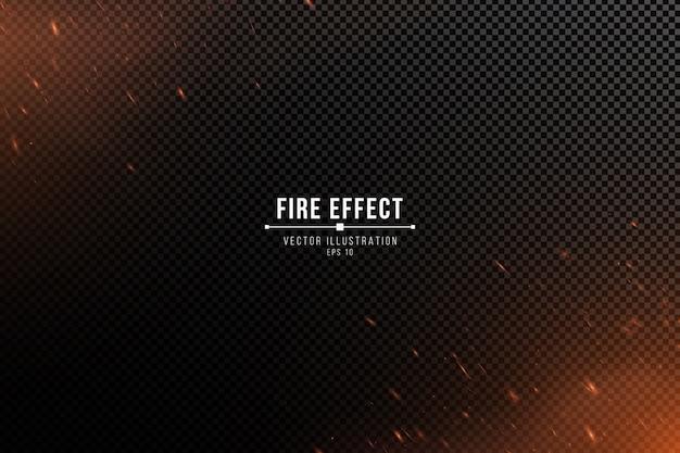 Efeito de fogo com partículas em um fundo escuro transparente. a chama brilha e fumaça.