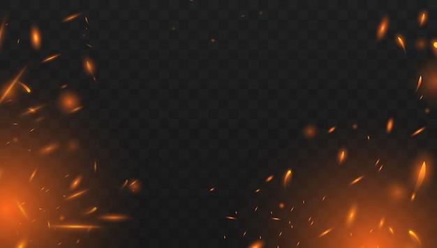 Efeito de fogo isolado realista para decoração e cobertura do transparente. efeito de luz vermelho e amarelo