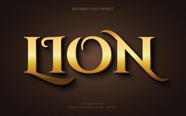 Efeito de fonte 3d leão dourado elegante