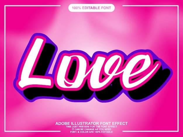 Efeito de fonte de adesivo de script de amor simples