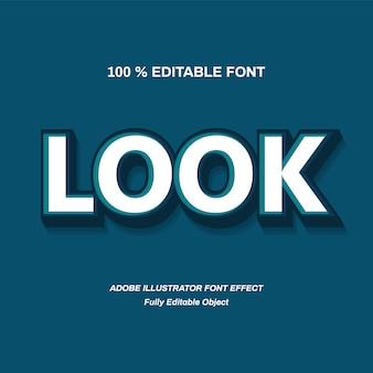 Efeito de fonte de alfabeto de olhar azul 3d