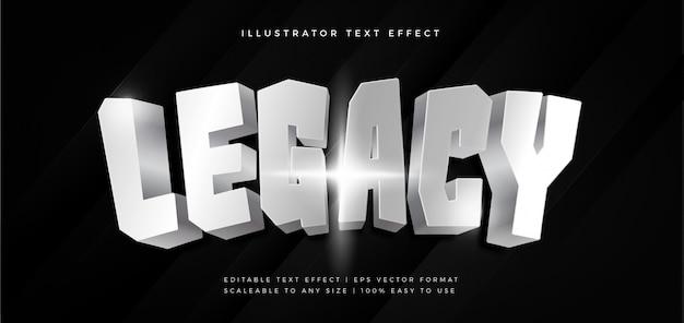 Efeito de fonte de estilo de texto brilhante de filme prata