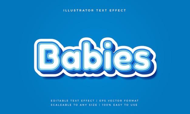 Efeito de fonte de estilo de texto brincalhão bebê fofo