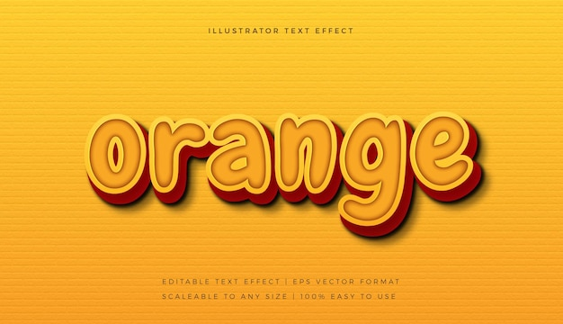 Efeito de fonte de estilo de texto brincalhão vibrante laranja