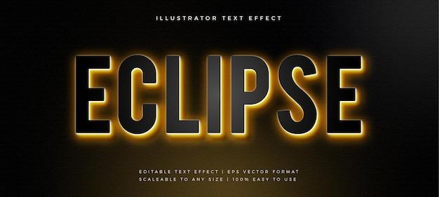 Efeito de fonte de estilo de texto com luz de fundo dourada escura