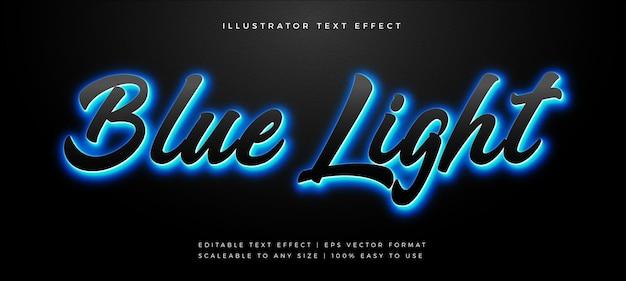 Efeito de fonte de estilo de texto com luz de fundo em azul escuro