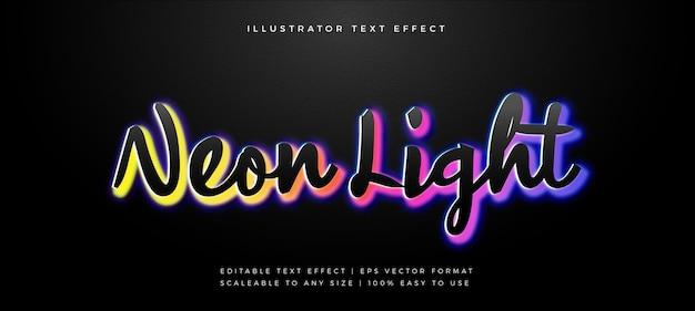 Efeito de fonte de estilo de texto de luz de néon arco-íris