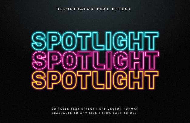 Efeito de fonte de estilo de texto de luz de néon colorido