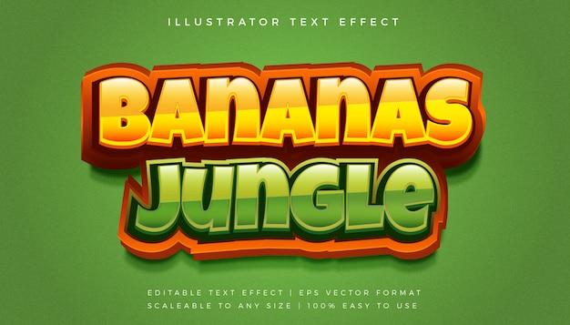 Efeito de fonte de estilo de texto divertido selva 3d
