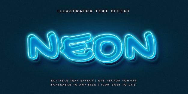 Efeito de fonte de estilo de texto em néon azul 3d