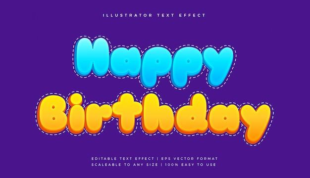 Efeito de fonte de estilo de texto fofo de feliz aniversário