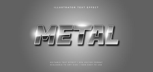 Efeito de fonte de estilo de texto prata brilhante metal