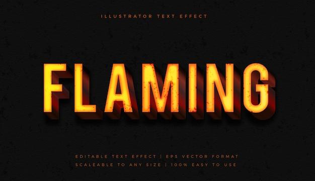 Efeito de fonte de estilo de texto quente flamejante brilhante