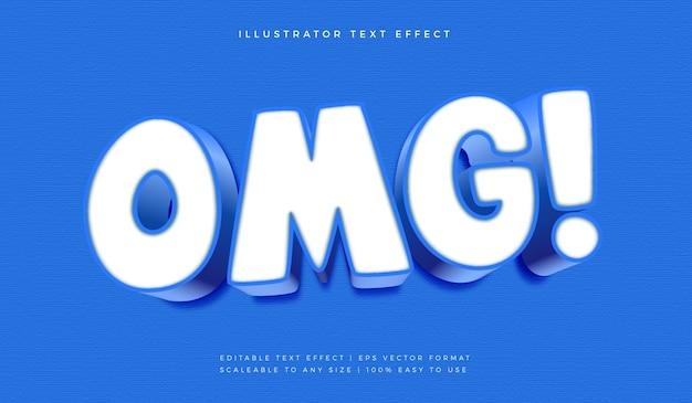 Efeito de fonte de estilo de texto surpresa azul omg