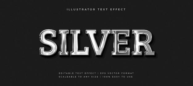 Efeito de fonte de estilo realista de texto de metal prateado