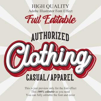 Efeito de fonte de tipografia editável de texto de roupas retrô