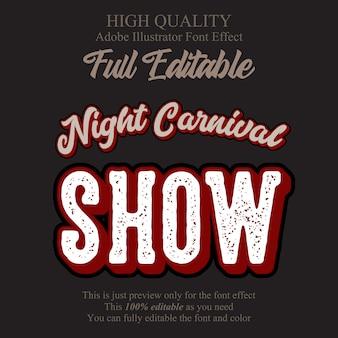 Efeito de fonte de tipografia editável de texto de show de carnaval retrô