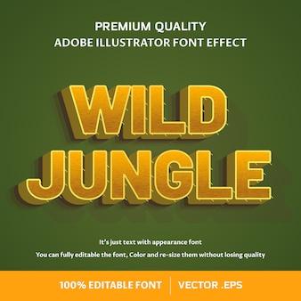 Efeito de fonte editável da selva 3d selvagem