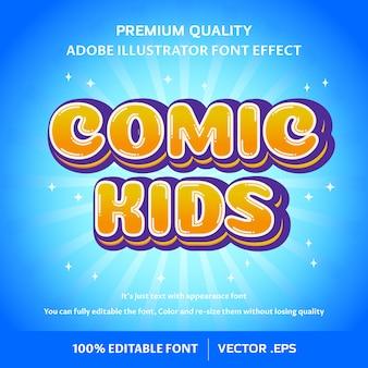 Efeito de fonte editável de crianças em quadrinhos