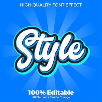 Efeito de fonte editável de estilo de texto branco moderno script
