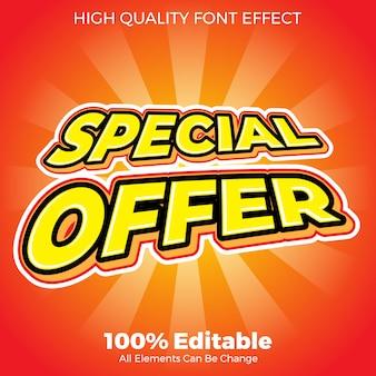 Efeito de fonte editável de estilo de texto de oferta especial promocional
