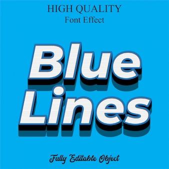 Efeito de fonte editável de estilo de texto moderno de linhas azuis 3d