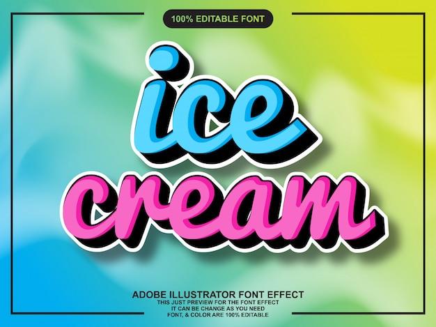 Efeito de fonte editável de script de sorvete moderno