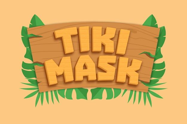 Efeito de fonte editável de texto de máscara tiki