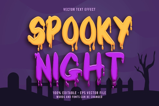 Efeito de fonte editável de texto spooky night