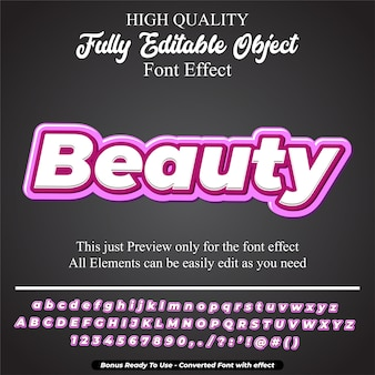 Efeito de fonte editável do estilo de texto em negrito rosa beleza