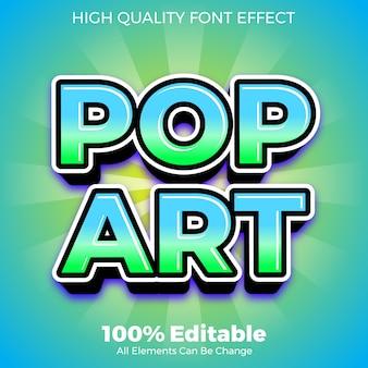 Efeito de fonte editável do estilo de texto moderno pop art