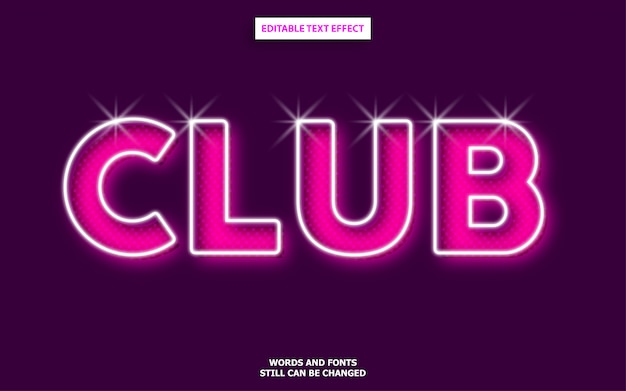 Efeito de fonte editável estilo clube
