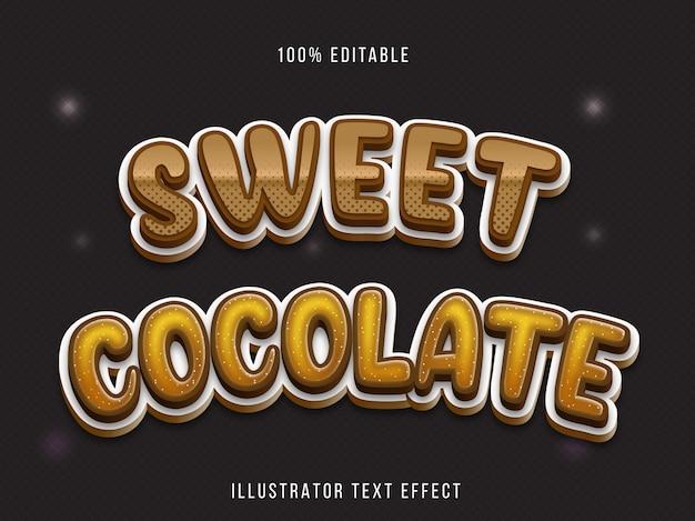 Efeito de fonte editável - estilo de título de chocolate doce