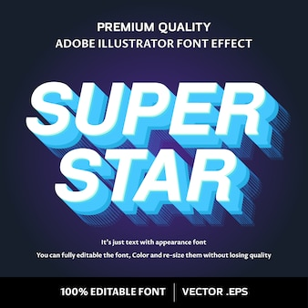 Efeito de fonte editável fácil super estrela 3d