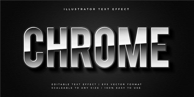 Efeito de fonte estilo texto cromado prata brilhante