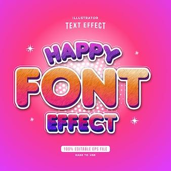 Efeito de fonte feliz, texto editável e fácil de usar