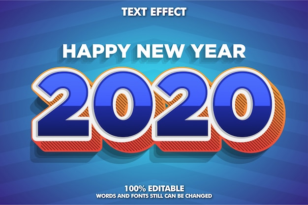 Efeito de fonte moderna para banner de ano novo, 2020