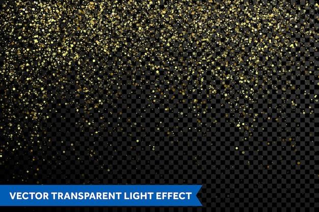 Efeito de fundo de partículas de glitter dourados de vetor para cartões de felicitações de luxo