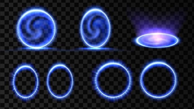 Efeito de holograma 3d do portal mágico azul teletransporte de vórtice de energia isolado