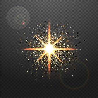 Efeito de iluminação dourado espumante raios de estrelas com reflexo de lasca