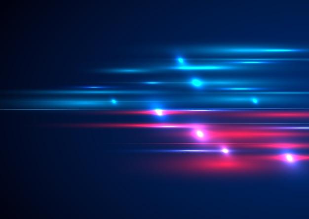 Efeito de iluminação futurista com tecnologia abstrata, velocidade de movimento